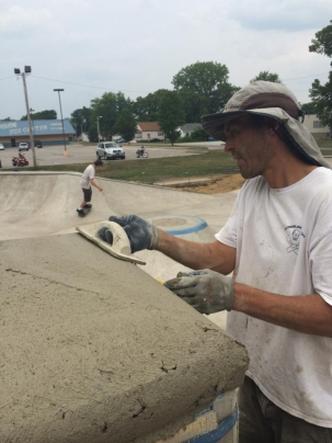 Pouring the Pillar Cap- Peru Skatepark, Indiana